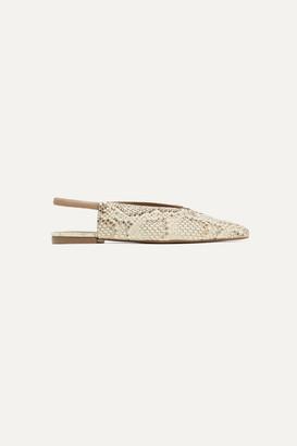 Mercedes Castillo Evetta Snake-effect Leather Slingback Flats - Snake print