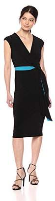 Taylor Dresses Women's Sleeveless v-Neck Faux Wrap Knit Dress with Self Tie