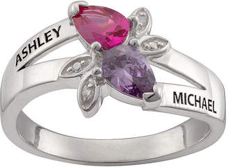 FINE JEWELRY Personalized Womens Diamond Accent Multi Color Cubic Zirconia Sterling Silver Cocktail Ring