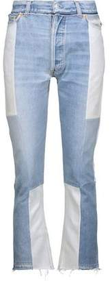 RE/DONE Two-Tone Distressed High-Rise Flared Jeans