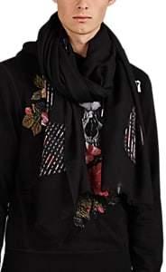 Alexander McQueen Men's Skull-Print Wool-Blend Scarf - Black