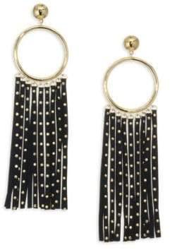 Kate Spade Faux-Leather& 14K Goldplated Fringe Earrings