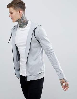HUGO Daple Zip-Thru Small Logo Hoodie in Gray