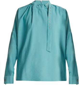 Tibi Buckled Neck Twill Blouse - Womens - Blue