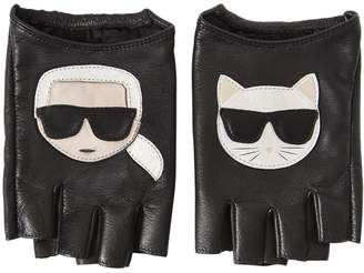 Karl Lagerfeld K/Ikonik Fingerless Leather Gloves