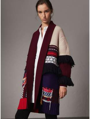 Burberry Fringed Wool Cashmere Patchwork Cardigan Coat