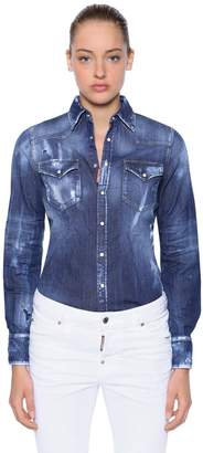 DSQUARED2 Distressed Stretch Cotton Denim Shirt