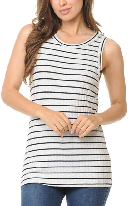 Ivory & Black Stripe Tank - Women