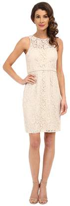 Donna Morgan Harlow Illusion Neck Lace Short Dress Women's Dress