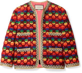 Gucci Embellished Flocked Striped Woven Jacket - Burgundy