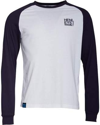 Henleys Mens Whato Long Sleeve T-Shirt White/Navy