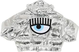 Chiara Ferragni Logo Patch Metallic Nylon Down Jacket