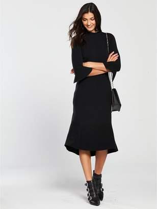 Very Skinny Rib Fluted Hem And Sleeve Knitted Dress - Black