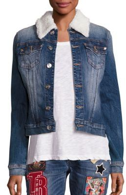 True Religion Western Dusty Faux Shearling Collar Denim Jacket $249 thestylecure.com