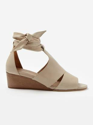 BEIGE Sclarandis Carla Tie Wedge Sandal in Size 37.5 Leather