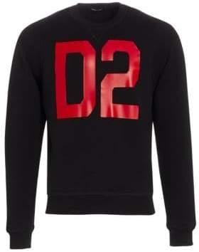 DSQUARED2 Men's D2 Crewneck Sweatshirt - Black Red - Size Large