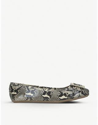 Carvela Mission snake-embossed faux-leather ballet flats