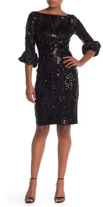 Carmen Marc Valvo Illusion Sequin Sheath Dress