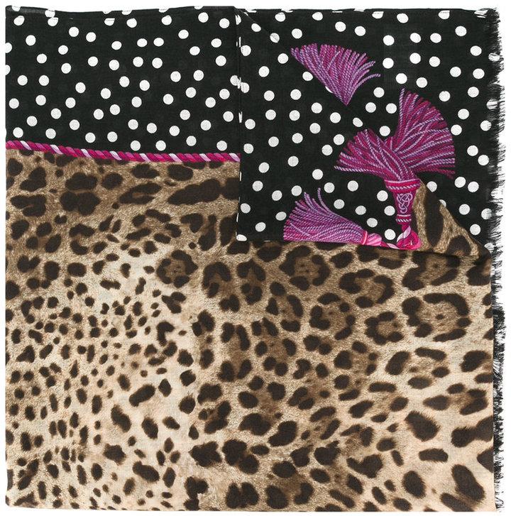 Dolce & Gabbana leopard & polka dot print scarf