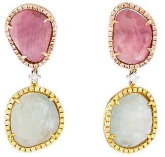 Rina Limor Fine Jewelry 18K Sapphire Slice & Diamond Drop Earrings