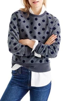 Women's J.crew Textured Polka Dot Raglan Sweatshirt $69.50 thestylecure.com
