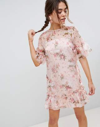 Asos DESIGN Mini Shift Dress In Pretty 3D Floral