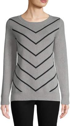 Liz Claiborne Long Sleeve Crew Neck Pattern Pullover Sweater
