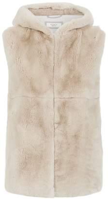 Peserico Hooded Rabbit Fur Gilet
