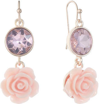 Liz Claiborne Pink Flower Drop Earrings