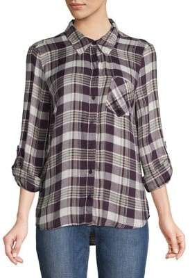 Style&Co. Style & Co. Plaid High-Low Button-Down Shirt