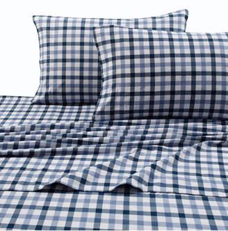 Tribeca Living 200-gsm Micro Plaid Printed Extra Deep Pocket Flannel Cal King Sheet Set Bedding