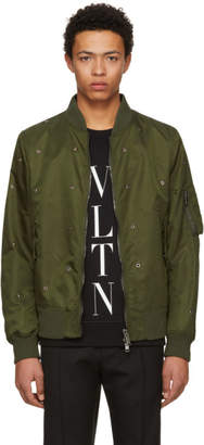 Valentino Green Eyelet Bomber Jacket