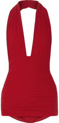 Bill Ruched Halterneck Swimsuit - Red