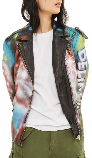 Topshop Women's Topshop Aries Graffiti Leather Jacket