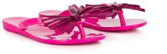 Mini Melissa glitter pleated bow sandals