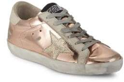 Golden Goose Superstar Lace-Up Metallic Leather Sneakers