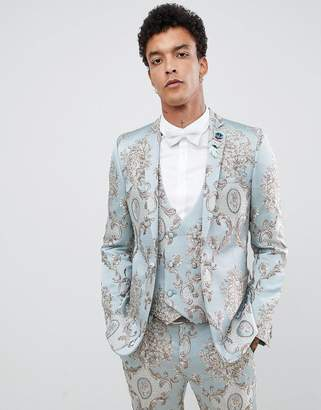 Asos Design DESIGN skinny suit jacket in duck egg jacquard with sequined parrot