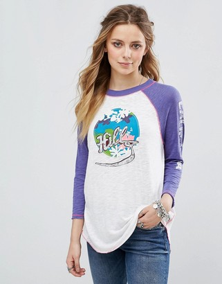Free People The Hills Printed Long Sleeved Baseball T-Shirt $58 thestylecure.com