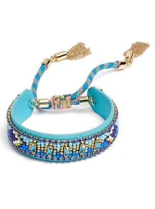 Rebecca Minkoff Zigzag Beaded Leather Friendship Bracelet