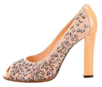 Fendi Embellished Peep-Toe Pumps
