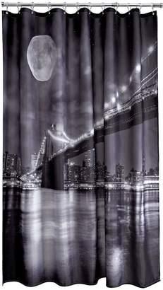 Aqualona Brooklyn Bridge Shower Curtain - Black/White