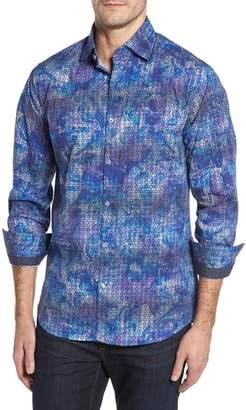 Stone Rose Slim Fit Geometric FX Print Sport Shirt