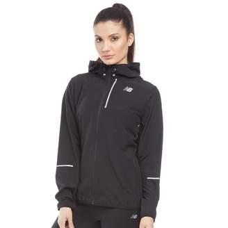 4d53f3a95b623 New Balance Womens Lightweight Water Resistant Hooded Running Jacket Black