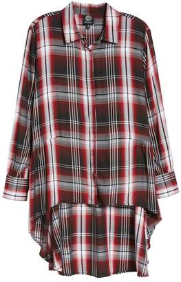 Bobeau Plaid High Low Peplum Tunic Blouse (Regular & Petite)