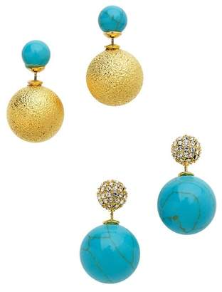 Sterling Forever Turquoise & CZ Front & Back Earrings Set