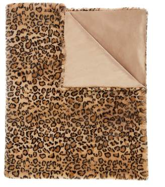 Magaschoni Leopard Print Faux Fur Throw