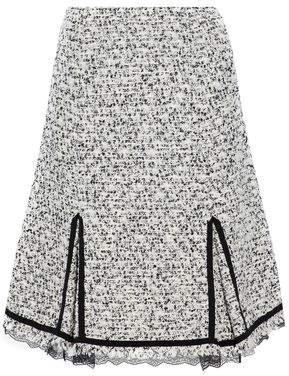 Giambattista Valli Lace-Trimmed Cotton-Blend Bouclé-Tweed Skirt