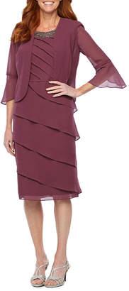 MAYA BROOKE Maya Brooke 3/4 Sleeve Beaded Neck Jacket Dress