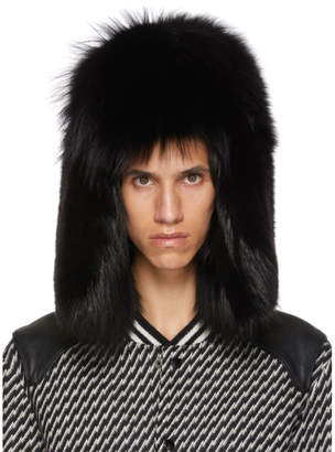 Saint Laurent Black Fur Trapper Hat