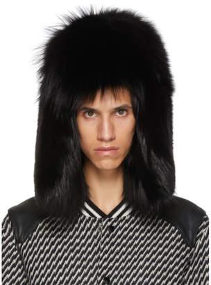 Saint Laurent Black Fur Trapper Hat